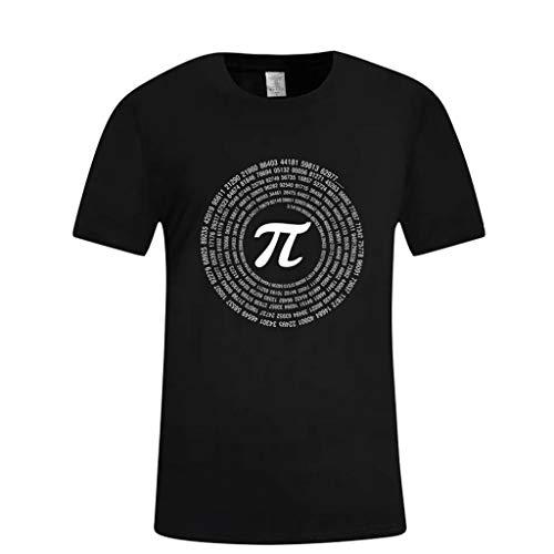 waotier Camiseta De Manga Corta para Hombre Simbolo De Matematicas Blanco Imprimir Top Ropa De Hombre Camiseta De Verano (L, X1-Negro)