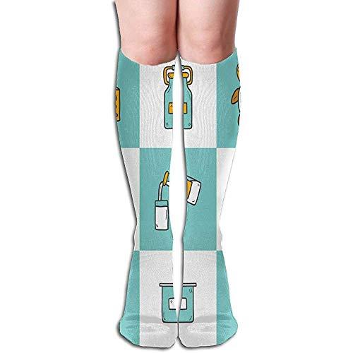 Sokken-dij hoge sokken kaas melk koe rijst atletische knie hoge kousen 50 cm