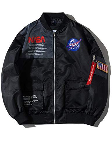 Wildswan Men Biker Bomber Jacket, NASA MA-1 Military Flight Jacket Light Air Force Moto Street Coat Winter B4051, Black, Medium