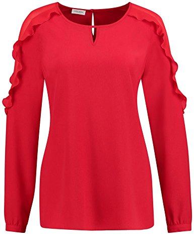 GERRY WEBER Damen Regular Fit Bluse 1/1 Arm 860001 - 31501, Einfarbig, Gr. 40, Rot (Rot 60627)