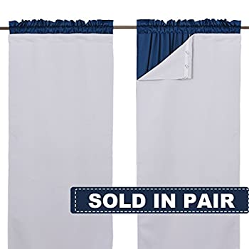 NICETOWN White Blackout Curtain Liners for Window - Noise Reducing Light Blocking Liner for 84 inch Curtains  Set of 2 Each is 27  x 80  Hooks Included Greyish White