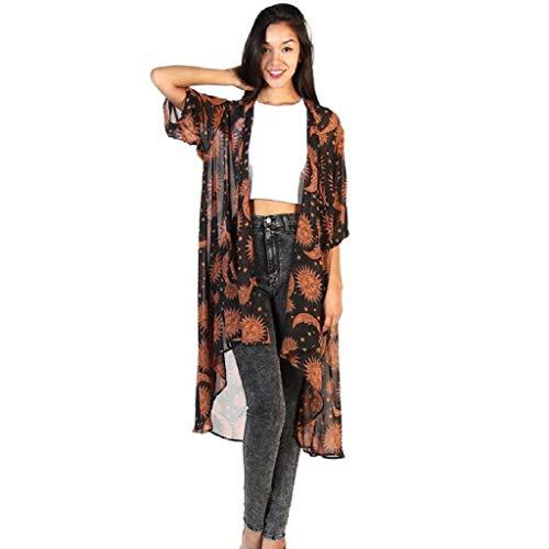 Kimono de Verano, Dragon868 Cárdigan Kimono Casual El Sol y Luna Estampado Ropa de Playa Bikini Cover Up Mujer Encaje Chaqueta de Primavera Otoño de SeñOras Blusa de Abrigo de Talla Grande