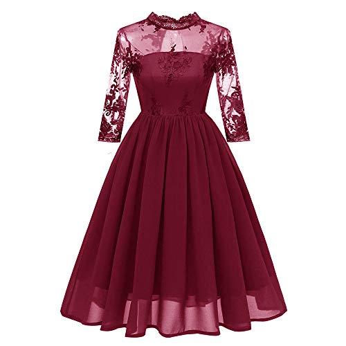 Elegant A-lijn kanten jurk feestjurk, bruidsmeisjesjurk 3/4 mouwen prinsesjurk, V-hals 1950 jurk, vrouwen wikkeljurk swing cocktailjurk
