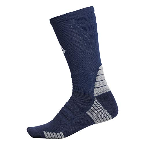 adidas Calcetines unisex Alphaskin con acolchado máximo, Unisex Hombre, Crew Sock-Team, 976224, Azul Marino/ Blanco/ Onix Claro, X-Large