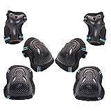 Rodilleras Conjunto Niños Deportes Protector 6 En 1 Rodilla Codo Reposamuñecas para Patinaje En Monopatín Patinaje Ciclismo Vespa De La Bici Montar Azul Negro M