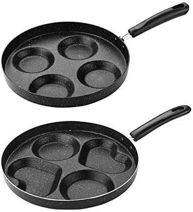 POELES Nordic quatre trous No Friture Pansoil-Smoke Omelette Pan antiadhésifs for les œufs Ham Pancake Maker Mini petit déjeuner Omelette Pan Casseroles/Set 2pcs (Color : -)