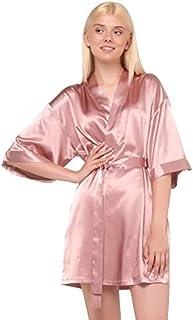 Women's Pure Color Satin Short Kimono Bridesmaids Lingerie Robes (Rose Gold, Medium)