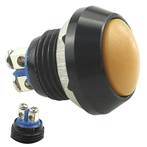 Mini pulsador de botón negro de 2 pines, tornillo de acero inoxidable, cabeza plana, resistente al agua IP65, botón redondo de encendido/apagado, 12 V – 250 V (amarillo)