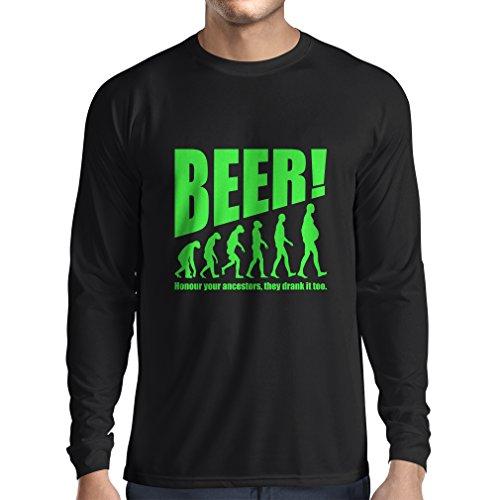 Camiseta de Manga Larga para Hombre The Beervolution - Ideas Divertidas únicas sarcásticas del Regalo para los Amantes de la Cerveza, evolución de consumición (Large Negro Verde)