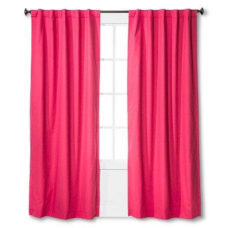 "Twill Light Blocking Curtain Panel - Pillowfort Pink 84"""
