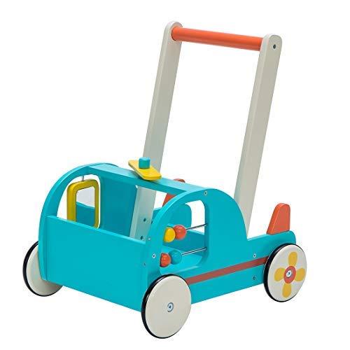 Lauflernwagen für Baby Aus Holz,2-in-1 Push & Pull-Spielzeug,Mädchen/Junge Spielzeug,Geeignet für 1-3 Jahre altes Baby,Blau