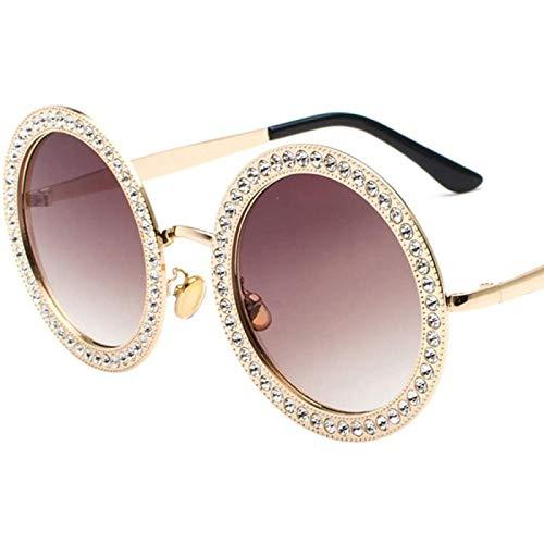 ZHANG Nuevas Gafas de Sol Redondas de Diamantes Moda Ocean Film Gafas de Sol Street Beat Multicolor,C