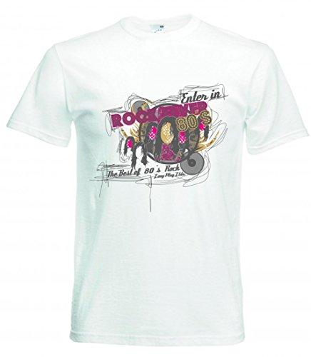 Camiseta de manga corta con diseño de pato en Rock Fever 80s TheBest of 80 ́s Rock Long Play Ltda. Music Rock n Roll Rocker Bike Auto Travel Palmen 80er 90 para hombre mujer niños 104-5XL Blanco Para Hombre Talla : XX-Large