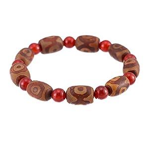Prime Feng Shui Tibetisches Dzi Armband mit 3 Augen Dzi und roten Perlen Amulett Armreif zieht positive Energie und Glück an