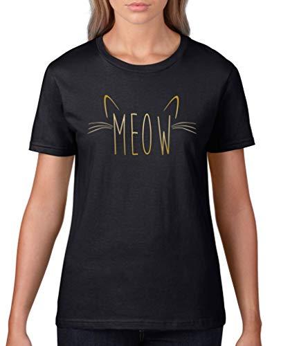 Comedy Shirts - Meow Schnurrhaare V2 - Damen T-Shirt - Schwarz/Gold Gr. 3XL