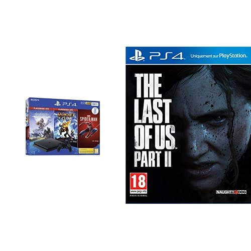 puissant PS4 500 Go Black + The Last of Us Part II + Spiderman + Hoziron Zero Dawn Complete Edition Hits +…