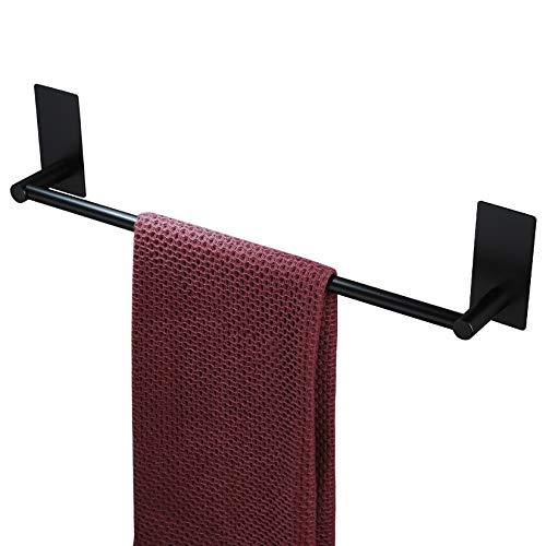 Taozun Toallero autoadhesivo – Toallero de 40,64 cm, color negro, toallero de acero inoxidable para baño