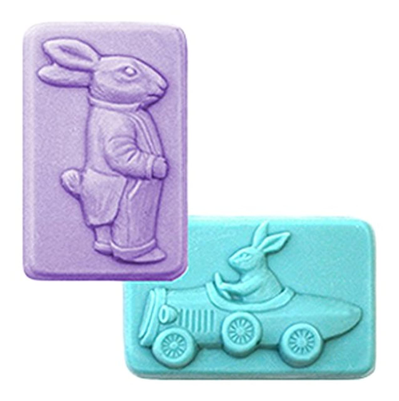 CybrTrayd Easter Rabbits Mold in Sealed Poly Bag, with Richly Illustrated 44-Page Soap Molder's Guide
