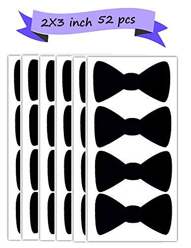 Bow Tie Stickers Baby Shower Wedding Décor Storage Labels 52 Pack 2X3 inch Mason jar Labels Blackboard Tags