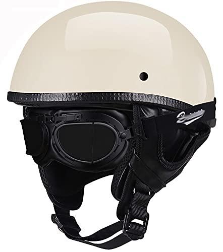Retro Medio Casco Casco Moto Jet ECE Homologado Casco Moto Abierto Custom Scooter para Mujer Hombre Adultos Casco Abierto De Motocicleta Half-Helmet 8,55-60CM