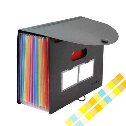 Accordion File Organizer 12 Pockets Desktop Expanding Folder with Cover Plastic Document Receipt Organizer School Office Supplies(A4/Letter Size)