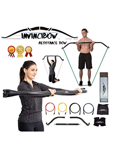 Invinci Bow Portable Home Gym Resistance Bands Bars System Fitness Equipment Body Weight Workouts, Full Bodyweight, Chest, Back, Training Workout