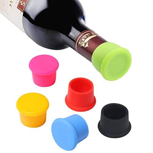 Vicloon Packung mit 6 Silikon Kronkorken, Weinflasche Caps/Bier Sealer Abdeckung, verschiedene Farben Reusable