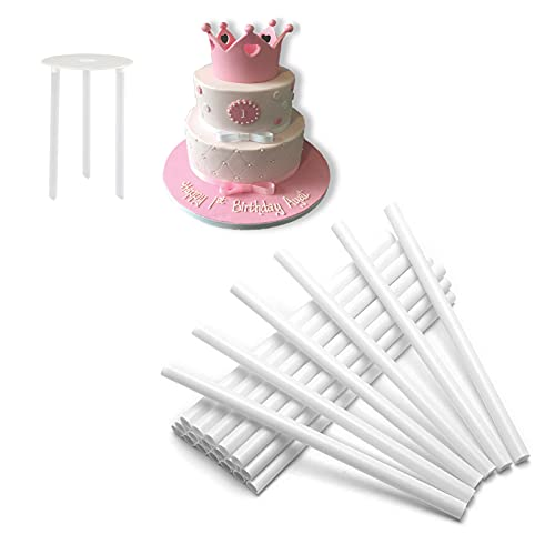 Soportes para tartas de nivel para tartas para construcción de tartas con niveles, apilamiento de pasteles, 50 piezas, 30 x 0,3 pulgadas
