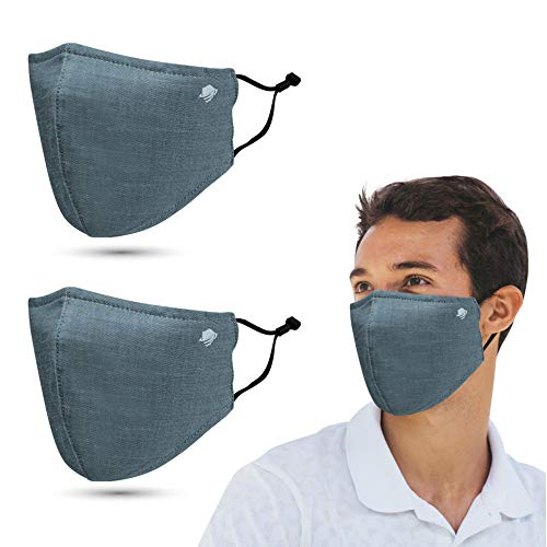 airDefender Reusable Protective Face Masks - Breathable 3 Layer with Nose Wire Filter Pocket Washable Face Mask for Men and Women, (Tea Green)