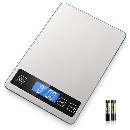 NBPOWER Küchenwaage Digital, Essenswaage mit Großem Panel Gehärtetes Glas Digitale küchenwaage 2 Batterien I Haushaltswaage, 1 g Richtigkeit und 5 Einheiten (2g-10kg) (1.Weiß)