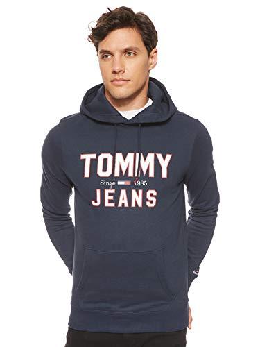 Tommy Jeans Herren TJM Essential 1985 Logo Hoodie Sportsweatshirt, Blau (Black Iris Cbk), Large (Herstellergröße:L)
