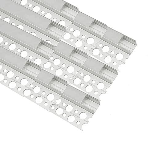 Perfil LED para azulejos, borde de mármol, tira de luz LED, perfil de 10 unidades, 1 m, perfil de aluminio LED de yeso para cocina/baño/escaleras