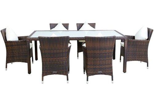 OUTFLEXX Esstischgruppe für 6 Personen, braun marmoriert, hochwertiges Polyrattan, 200x100cm, Glas-Tischplatte, Gartentisch mit 6 Stühlen, 7-teilige Esstischgarnitur, wetterfest, UV-beständig