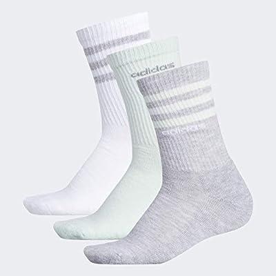 adidas Women's 3-Stripe Crew Socks (3-Pair), Heather Light Grey/Clear Mint/White/Light Onix, Medium, (Shoe Size 5-10)