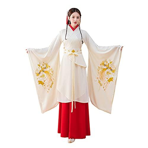 YANLINA Hanfu Vestido Hanfu Para Mujer Ropa Tradicional China Vestido Largo Antiguo Traje De Cosplay Falda Femenina (Color : White, Tamaño : XS)