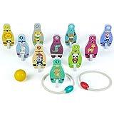 Symiu Juguetes de Bolos Madera Infantiles 2 En 1 Animales Juguetes Montessori...