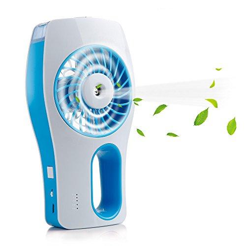 iEGrow, mini ventilatore portatile, verticale, con raffreddamento, ricaricabile tramite USB, con 3diverse modalità di circolazione (blu)