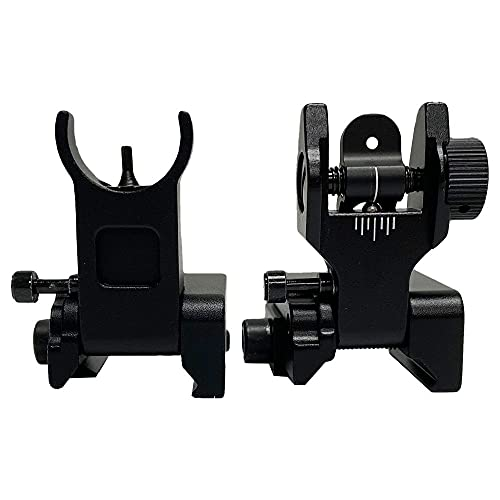 TPO FUSR Aluminum Flip Up Iron Sights Set, Compatible for Picatinny Rail and Weaver Rail of Rifle, Foldable Sights