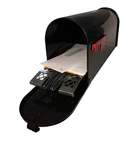 Outdoor Metal Mailbox with Mailbox Insert to Keep Mail Dry - Galvanized Large Mailbox & Accessories for House, Outside - Black
