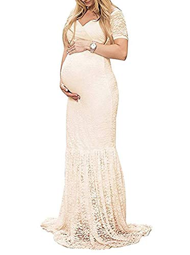 ZIUMUDY Womens Off Shoulder Short Sleeve V Neck Lace Maternity Gown Maxi Photography Dress (Large, Beige)