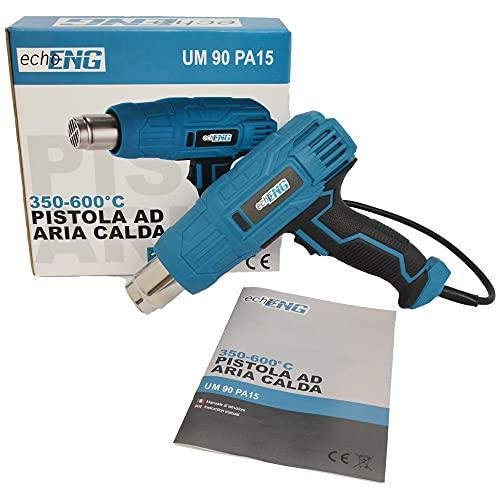 Pistola aria calda termica elettrica per sverniciatura con regolazione di temperatura per bricolage carrozzeria e fai da te 230V – 2000W 600°C - echoENG - UM 90 PA15