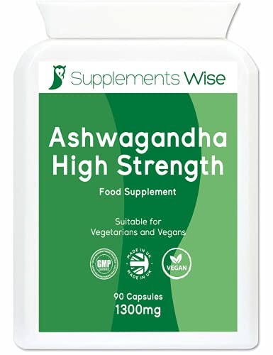 Ashwagandha Capsules - 90 x 1300mg - High Strength Herbal Extract - Ashwanghanda Powder Root Supplement - Made in The UK - Benefits for Blood Sugar and Cortisol Levels - Suitable for Men and Women