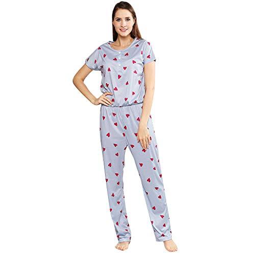 MRULIC Damenmode Kurzarm Sweatshirt Home Piece Pyjamas Einteiler Schlafanzug Frühling Schlafoveralls(Grau,M)