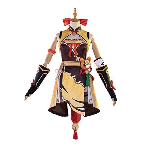 Gettesy Cosplay Kostüm, Genshin Impact Xiangling Cosplay Outfit Cosplay Kostüm für Kinder Erwachsene