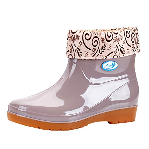 Women's Western Cowboy Boots Chunky Heel Mid-Tube Boots Sunflower Printed Boots Chunky Heel Autumn And Winter Fur Round Toe Boots (A18-Beige,6)