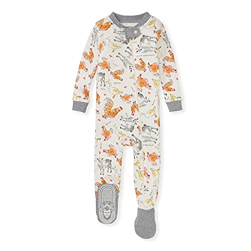 Burt's Bees Baby Baby Boys' Sleeper Pajamas, Zip-Front Non-Slip Footie PJs, Organic Cotton, Farm Sounds, 24 Months