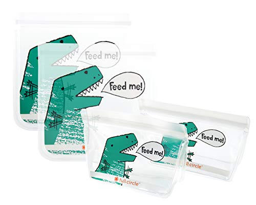 Full Circle ZipTuck Kids Reusable Bags, Sandwich Set and Snack Set, Dinosaur, Set of 4
