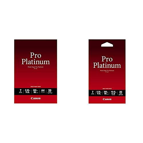 Canon 2768B016 PT 101 pro platinum photo paper inkjet 300gm2 A4 20 Blatt Pack PT 101 10 x 15 cm Professionell Fotopapier Platinum 300 gqm 20 Blatt