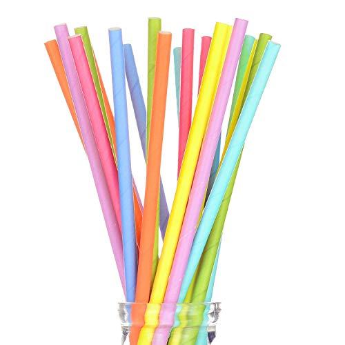 MINGZE 200 Pezzi Cannucce di Carta biodegradabili, 8 Colori Diversi Colori Arcobaleno Cannucce di Carta, paglie di Carta sfuse per succhi, frullati, Decorazioni per Feste, 197 * 6mm (Tinta Unita)