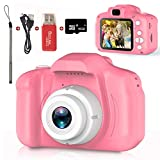 Kids Camera,Children Digital Cameras Kid Action Camera Toddler Video Recorder 1080P IPS 2 Inch,Child Rechargeable Camera with 16GB TF Card,Christmas and Birthday Toy Gifts for Kids Age 3-8 (Pink)